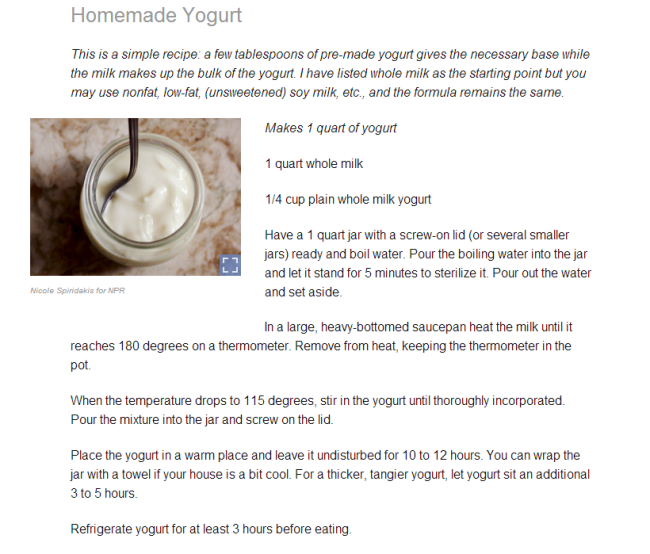 Yogurt recipe from NPR
